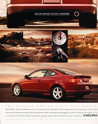 2002 Acura RSX Type-S - 200hp standard -  Classic Advertisement Ad A42-B
