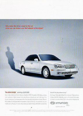 2004 Hyundai XG350 - driver adapt -  Classic Advertisement Ad A46-B