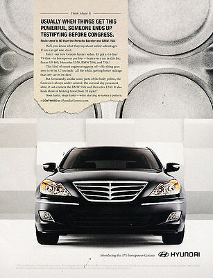2009 Hyundai Genesis - powerful 375hp -  Classic Advertisement Ad A48-B