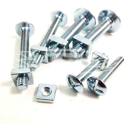 200, M8 x 100mm ROOFING BOLTS & SQUARE NUTS - DOUBLE SLOTTED - CORRUGATED ROOF