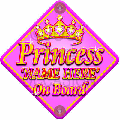 BRAND NEW ~ PINK & GOLD ~ PRINCESS ~ Personalised Baby on Board Car Window Sign