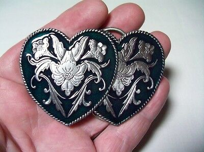Siskiyou Pewter Belt Buckle 2 Hearts with Green Enamel 1992 Made in U.S.A.