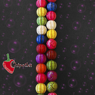 3 PERLE COLORATE 15 mm aulite sintetica CHARMS coloured howlite beads