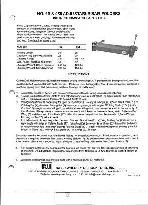 Pexto Roper Whitney 063 & 055 Owners Manual