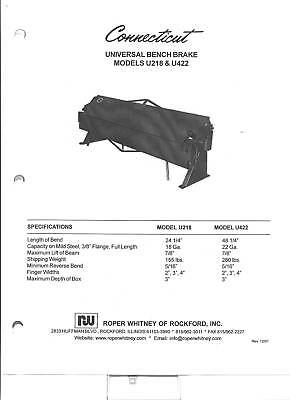 Pexto Roper Whitney U422 & 422 Owners Manual