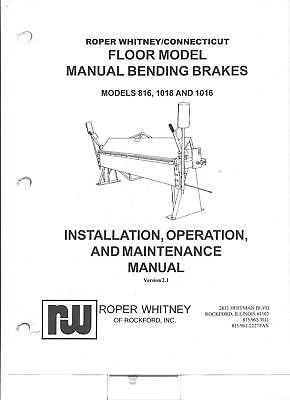 Pexto Roper Whitney 816, 1018 & 1016 Owners Manual