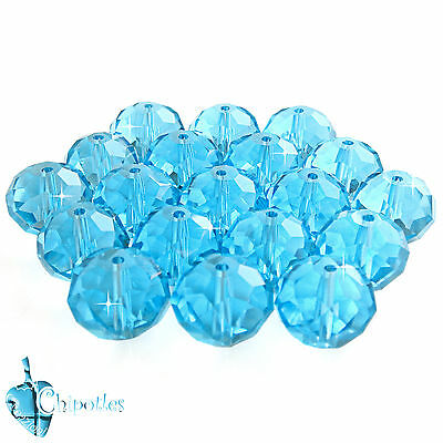 3 PERLE rondelle TURCHESI 15 mm perline TURQUOISE CRYSTAL BEADS mezzo cristallo