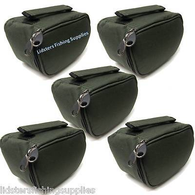 5 x New Deluxe Green Reel Cases Bags Carp Pike Fishing Tackle