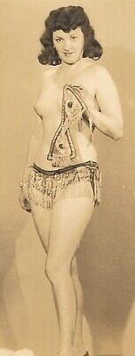 Original Vintage 1940s-50s Nude RP- Exotic Belly Dancer- Dark Hair- Dance Outfit