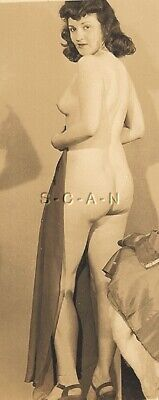 Original Vintage Exotic Nude RP- Pinup- Belly Dancer- Dark Hair- 1940s-1950s