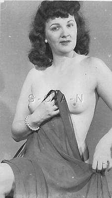 Original Vintage Pinup Nude RP- Exotic Belly Dancer- Dark Hair- 1940s-1950s