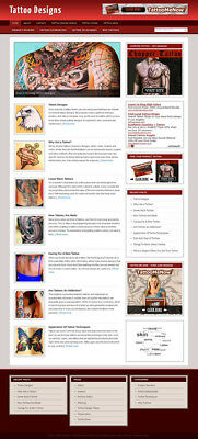 Tattoo Designs Blog Self Updating Website with Clickbank Amazon Adsense & more *