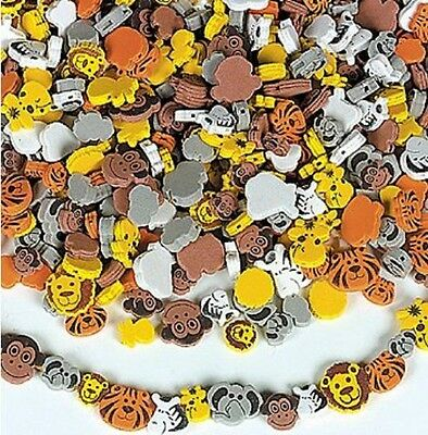 100 Foam Beads - Zoo Animals ABCraft Monkey Lion Zebra Tiger Kids Arts & Crafts
