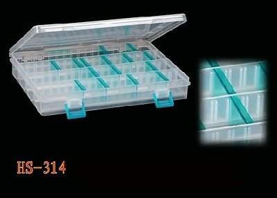 """CLEAR PLASTIC TACKLE BOXES (9.1/2"""" x 7"""" x 1.1/2"""") 16 Dividers FREE POST"""