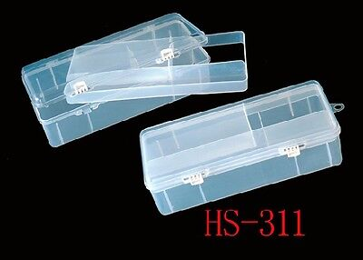 """2 x CLEAR PLASTIC TACKLE BOXES (11"""" x 5"""" x 3"""") LIFT OUT TRAY + FREE POST+"""