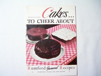 Vintage Cakes Rumford Baking Powder Cakes Cookbook 1945 Booklet 25 recipes