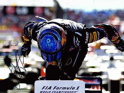 Sebastian Vettel HAND SIGNED Red Bull F1 World Champion 16x12 Photo AFTAL COA