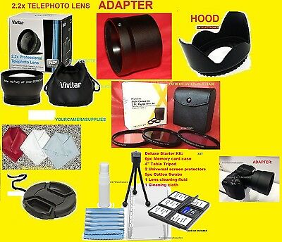 22pc:2.2x TELEPHOTO LENS 67mm+ADAPTER to NIKON COOLPIX L120 L310 +HOOD+FILTERS+