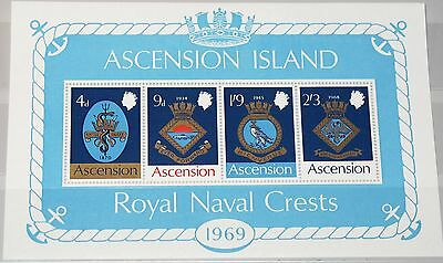 ASCENSION 1969 Block 1 S/S 129a Schiffswappen Royal Navy Ships Coat of Arms MNH