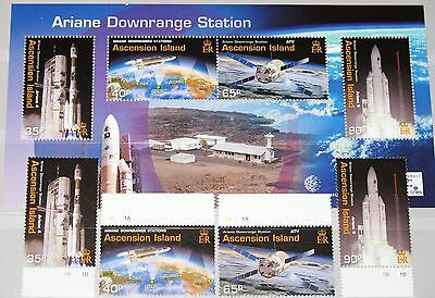 ASCENSION 2003 895-98 Block 48 818-21a Ariane Tracking Station Space MNH