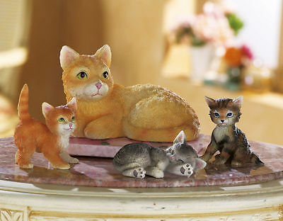 Mama Cat and Her Kittens Family Figurine Statues