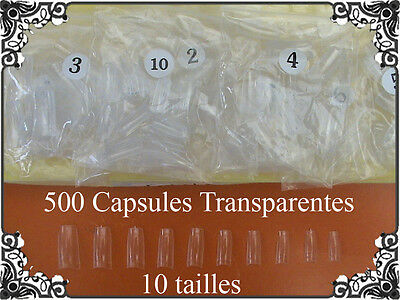 500 CAPSULES FAUX ONGLES TIPS NAIL ART TRANSPARENT FRENCH GEL UV Manucure PRO