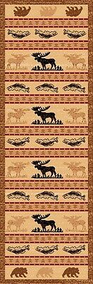 ~2X 7 Runner Lodge Country Theme Area Rug Moose Fish Bear NEW FREE SHIPPING