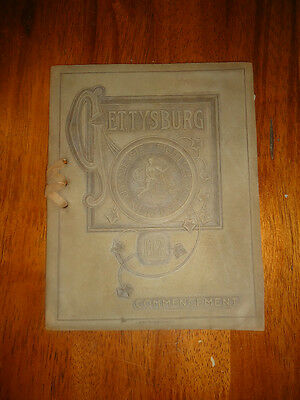 Gettysburg Commencement booklet from 1912. Nice suede boards, Rare