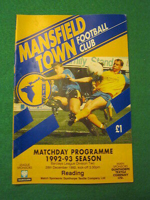 PROGRAMME - Mansfield Town v Reading - 28 Dec 1992