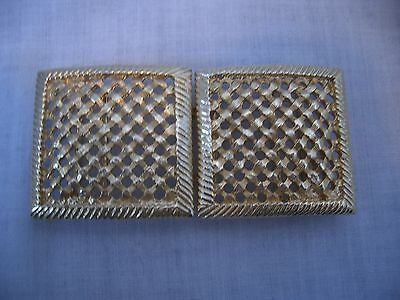 Textured Gilt Metal Lattice Belt Buckle
