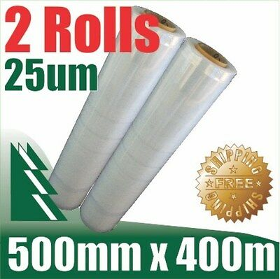 2 Rolls 500mm x 400m 25um Clear Stretch Film Pallet Wrap Wrapping BEST PRICE