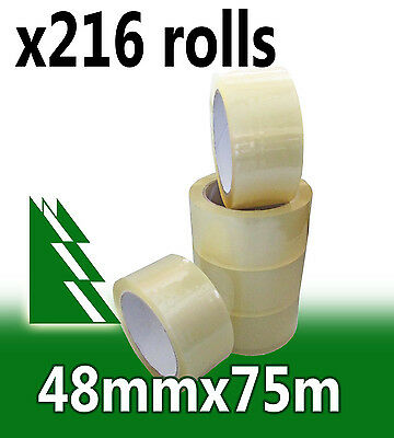 216 x Rolls Clear Packing Packaging Tape 48mm x 75m BULK BUY AND SAVE