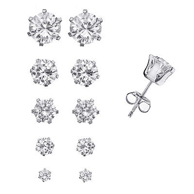 Set of 5 Pairs Sterling Silver Round CZ Studs Earrings in 5 Different Sizes