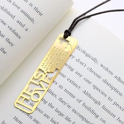 He is our LOVE Christian Bible 18k GP Bookmark with Leather String for Gift