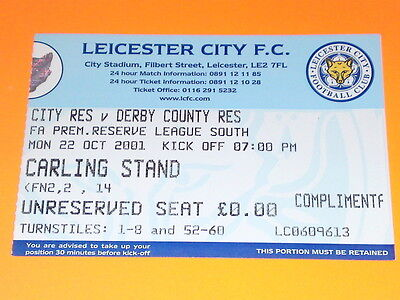 TICKET - RESERVES - Leicester City v Derby - 22 Oct 2001