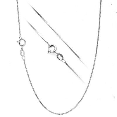 ".925 Sterling Silver .7mm Box Chain Necklace for Pendants -- All Sizes 14"" - 30"""