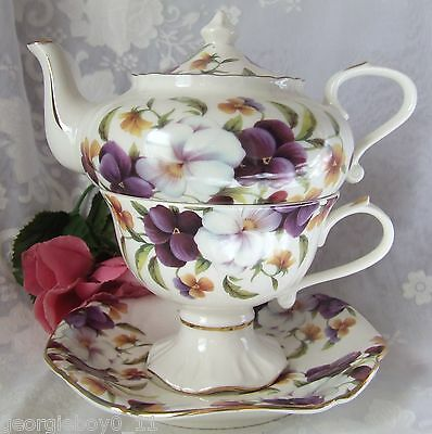 4Pc Pansies Petite Tea For One Set -  Tp665