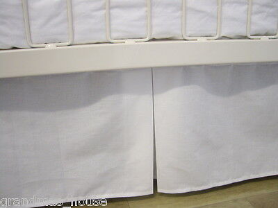 Cot Valance Box Pleat Baby Crib White Navy Red Chocolate