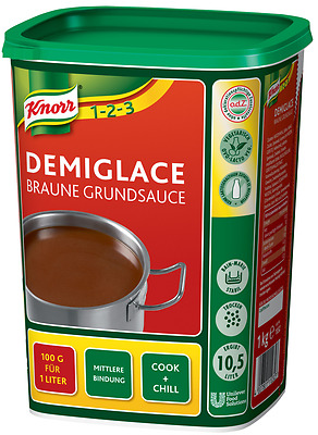 (1000g=12,49€) Knorr Demi Glace Braune Grundsauce - 1 kg - Demiglace Sauce Basis