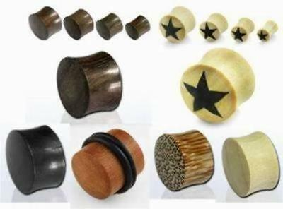 Solid Star Organic Wood Horn Ear Tunnels Double Flared Saddle Plugs - Punk Rock