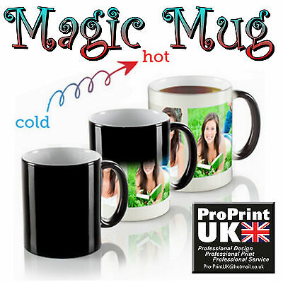 Personalised Photo Colour Changing WOW Magic Mug with your Photo Text logo Gift
