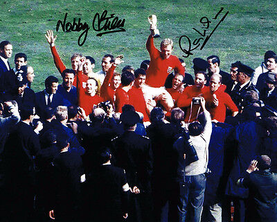 Nobby Stiles & Ray Wilson SIGNED Autograph 1966 World Cup Winner Photo AFTAL COA