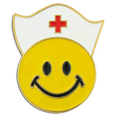 SMILEY FACE NURSE MEDICAL LAPEL PIN WITH HAT RED CROSS