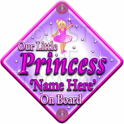 NEW Pink ~ OUR LITTLE  PRINCESS ~ Personalised Baby on Board Car Window Sign