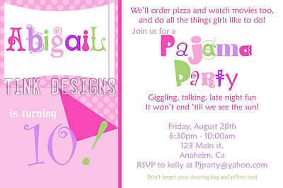 PJ Pajama sleep over birthday party invitation