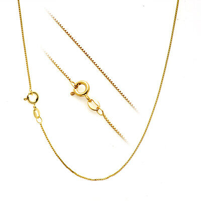 "18K Gold over Silver .7mm Box Chain Necklace for Pendants -- All Sizes 14"" - 30"""
