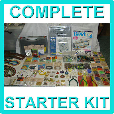 COMPLETE JEWELLERY MAKING KIT - Starter pack with tools findings beads supplies