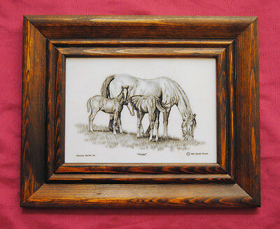 Rustic Framed - Horses - Mare & Foals - Etched Cultured Montana Marble Art