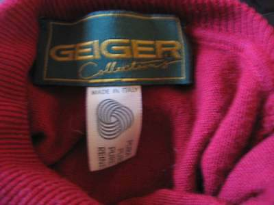 Womens GEIGER Italian New Wool Crimson Red SOFT Turtleneck Top Sweater S M 36