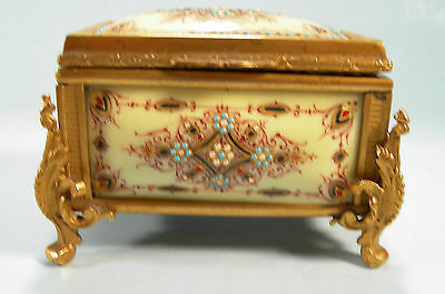 Magnificent French Enamel Jeweled Bronze Dore Box